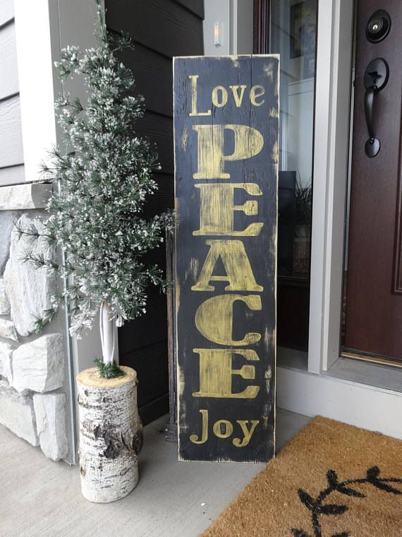 Love Peace Joy sign. Hand painted 10x40 Christmas sign/