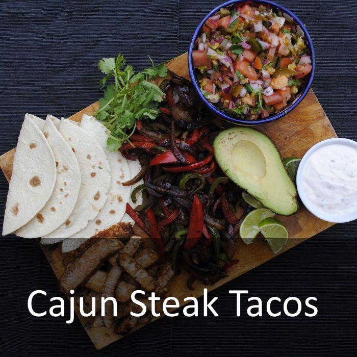 Cajun Steak Tacos - rump steak, garlic powder, paprika, onion powder, cayenne pepper, dried oregano, dried thyme, sea salt & black pepper, olive oil, tortillas (sub paleo wrap?), red pepper, green pepper, onion