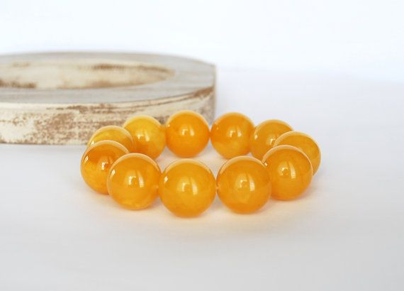 20 mm Beads Unique Genuine Baltic Amber Bracelet  by AmberAndMore