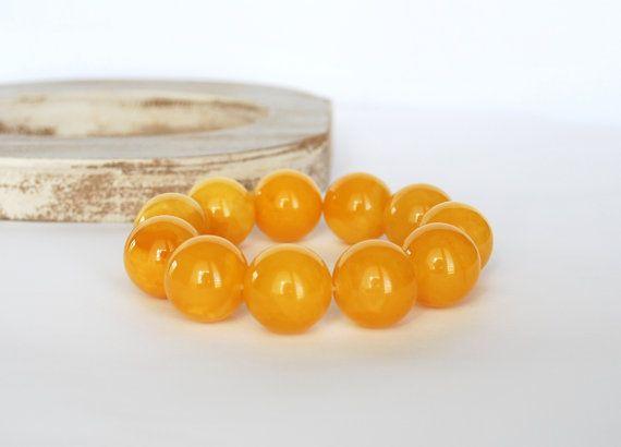 20 mm Beads Unique Genuine Baltic Amber Bracelet  by AmberAndMore