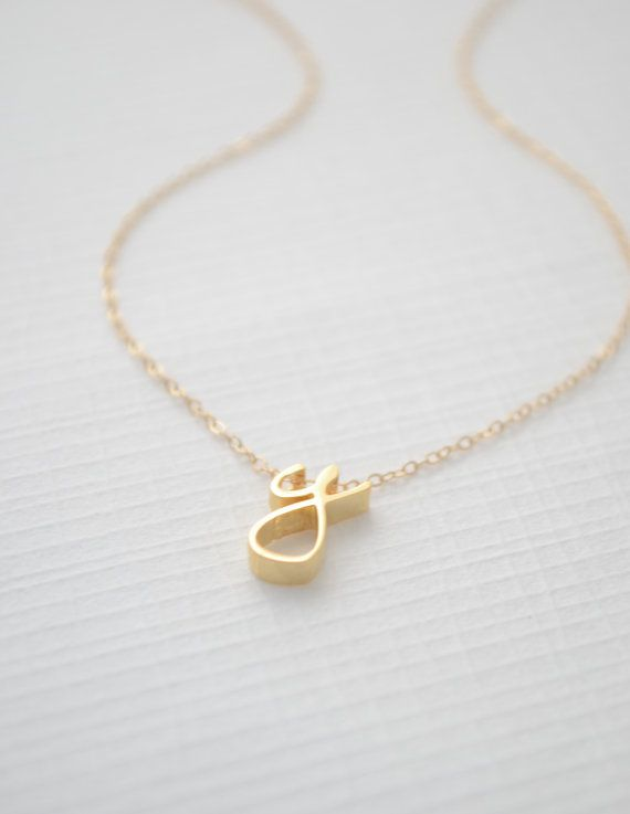 Gold Cursive Initial Necklace 1160 by OliveYewJewels on Etsy, $44.00