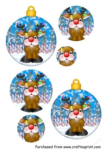Pyramid Christmas Bauble - Rudolph by Angie Accardi Cute little bauble can be used as a decoration or a card topper. Easy to make and assembleFinished bauble is approx 10cm