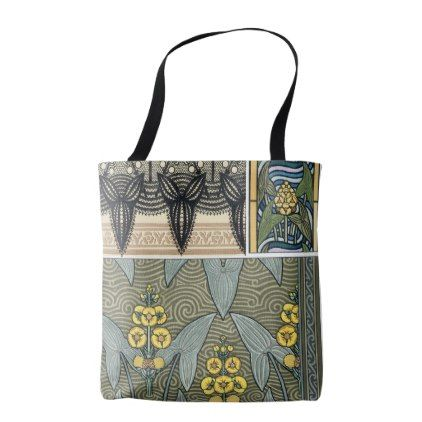Vintage Art Nouveau Arrowhead Garden Flowers Tote Bag - retro gifts style cyo diy special idea