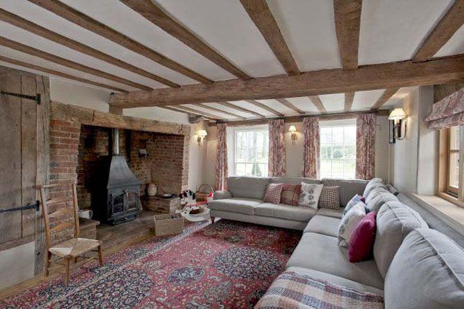 Oak Beams  black fireplace stove...