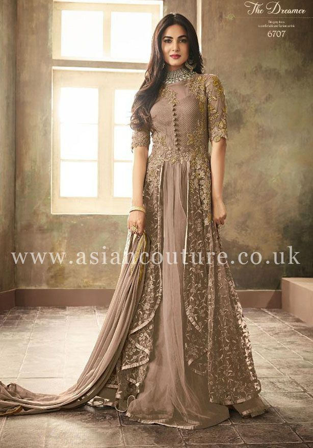 Attractive Taffeta Silk And Heavy Net Gown With Embroidery /& Diamond Work  For Women
