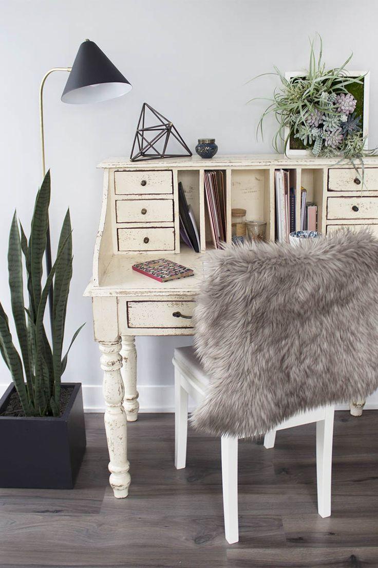 Cozy Nook #cozy #fauxfur #furthrow #plants #officedesign #fauxflowers #homedecor #homeoffice #homeofficeideas