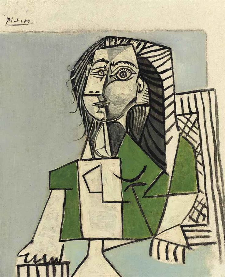 Pablo Picasso (1881-1973)   Femme assise   signed and dated 'Picasso 31.3.53.' (upper left)   oil on canvas   18 1/8 x 15 in. (46 x 38 cm.)   Painted on 31 March 1953