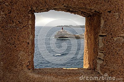 Bouches de Bonifacio in Corse France - madonnetta lighthouse - bocche di bonifacio