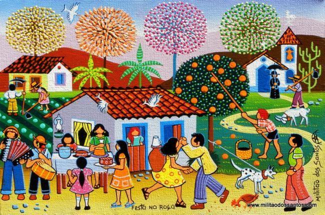 FESTA NA ROÇA - Ζωγραφική,  30x20 cm ©2010 από Militão Dos Santos -                            Naive Art, Roça, Festa popular, Paisagem campestre, Pintura ingênua, Arte naif, Arte primitiva