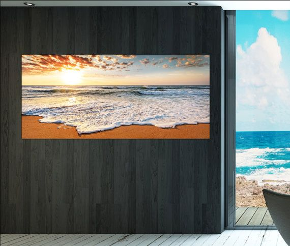 About the artwork  Title: ocean beach sunrise canvas wall art print on canvas ocean beach print on canvas. This wall art canvas product : ocean beach will be produced within 3 or max 5 days. You can always request adjustments of special sizes for ocean beach . For more information about ocean beach , please see the description. You will receive one, three or five 5 panels / boards with high quality canvas wall art prints. Your product will be ready to hang!  Meaning of ready to hang: You...