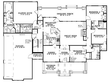 Floor Plans Aflfpw13036 1 Story Craftsman Home With 4