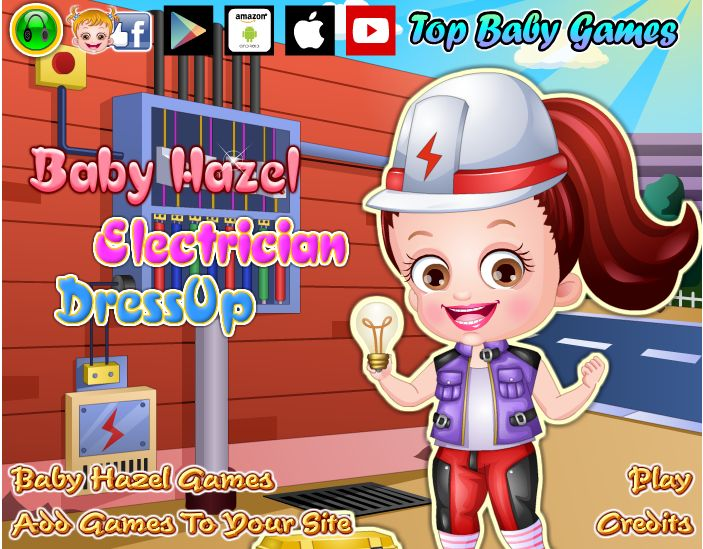 Fun dress up game for kids to play! Choose from dozens of outfits and accessories to give Baby Hazel a stylish electrician makeover http://www.topbabygames.com/baby-hazel-electrician-dressup.html