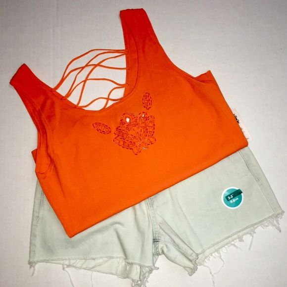 "Orange strappy top Light wear, no beads missing 21.5"" in length and 16"" across super cute summer top Tops Tank Tops"