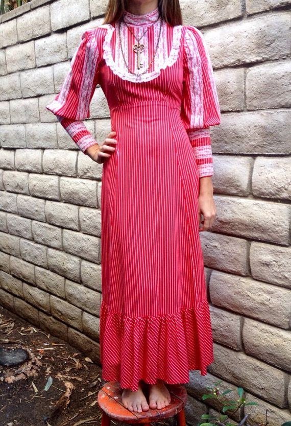 1970's Red & white Striped Maxi Hippie/Bohemian Lace Bib Dress-Edwardian Style (Handmade) on Etsy, $34.00