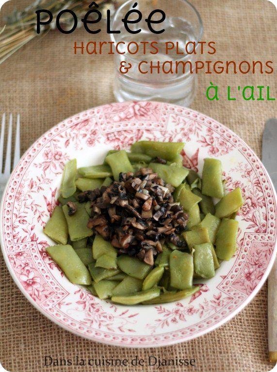 Poêlée de haricots plats et champignons à l'ail