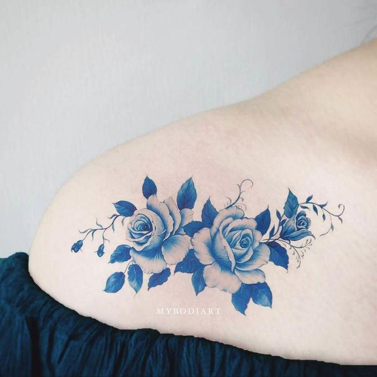 Idées de tatouage d'épaule floral bleu Vintage aquarelle fleur pour les femmes – Idées d …   – Flower Tattoos