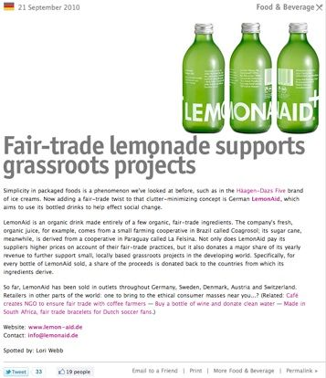 "TRENDS - #18 Trendspotting for 2011. Fair trade ""Lemonaid"""