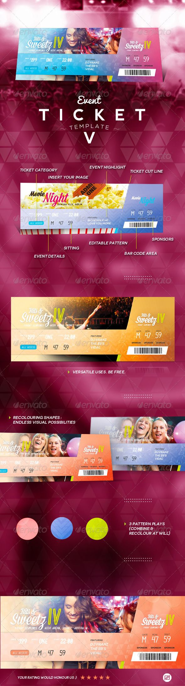 Event Ticket Template PSD. Download here: https://graphicriver.net/item/event-ticket-template-v/7660664?ref=ksioks