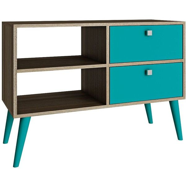 Universal lighting and decor dalarna 2 drawer aqua and oak wood frame