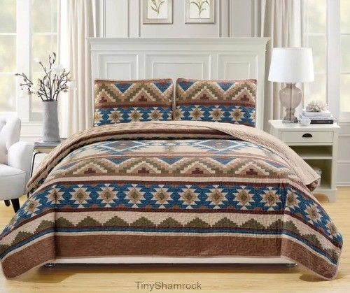 King Quilt Set Aztec Geometric Bedspread Coverlet 3 Pc Bedding Lightweight New #KingSizeBedding #Southwestern