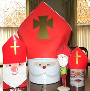 Use our folded miters to turn Santa faces into St. Nicholas. Now is a good time to find Santa face containers and other items.