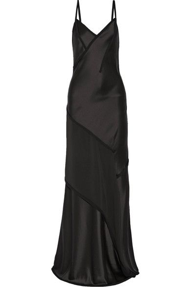 Jason Wu - Crepe-paneled Silk-satin Gown - Charcoal - US2