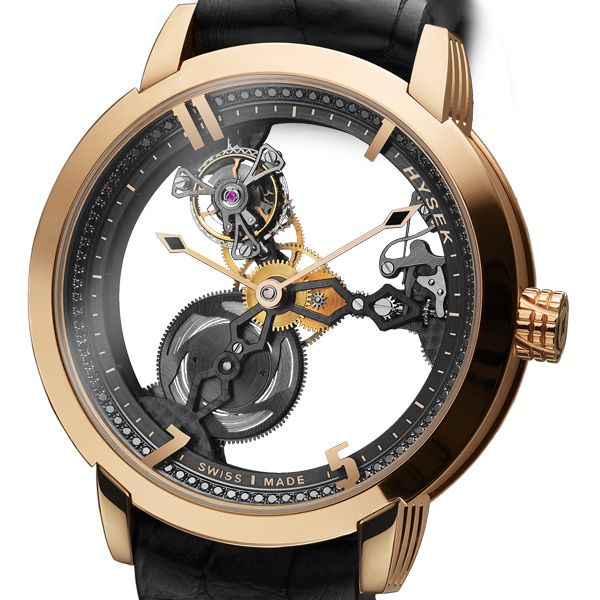 HYSEK IO Skeleton Tourbillon 49mm The IO Skeleton Tourbillion marks a definite evolution of the IO line. The codes on which was founded the collection; an audaciously designed case, classic yet modern, boosted by ample circular curves are blended henceforth with a strong desire of purity (See more at En/Fr: http://watchmobile7.com/articles/hysek-io-skeleton-tourbillon-49mm) #watches #montres #hysek