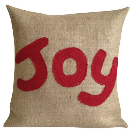 ecofriendly burlap pillow with a typographic motif and featherdown fill made