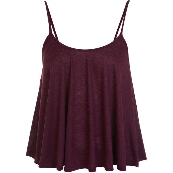 Miss Selfridge Salt and Pepper Cami Top ($12) ❤ liked on Polyvore featuring tops, shirts, tank tops, blusas, burgundy, purple shirt, purple top, shirts & tops, cami tank and camisole shirt