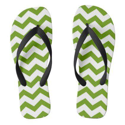 Antique Green Chevron Stripes Flip Flops - patterns pattern special unique design gift idea diy