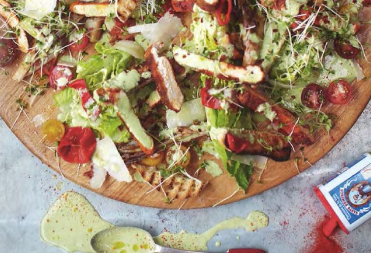 Crispy polenta chicken caesar salad. From Jamie Oliver's 15 minute meals delicious, nutritious, super fast food