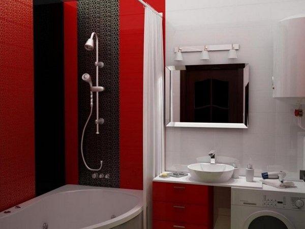 Красный дизайн ванной комнаты