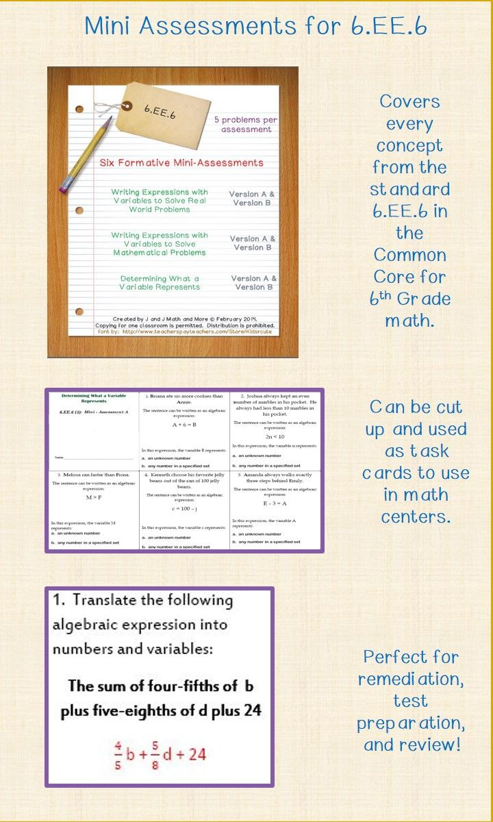 6th Grade Math: 30 Problems In Six Formative Miniassessments That Cover:  Writing 17 Best
