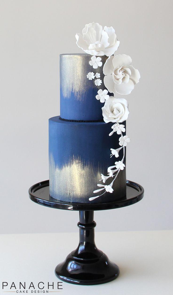 blue white gold wedding cake weddingcakes sugarflowers handmade pretty beautiful elegant 2 tiered roses peony