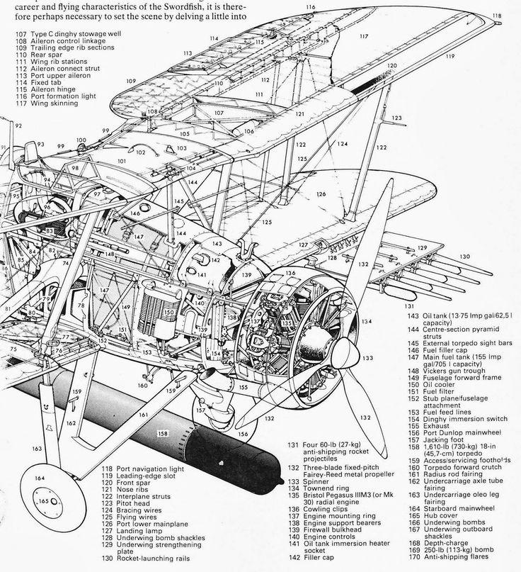 Front half of Fairey Swordfish cutaway with key.