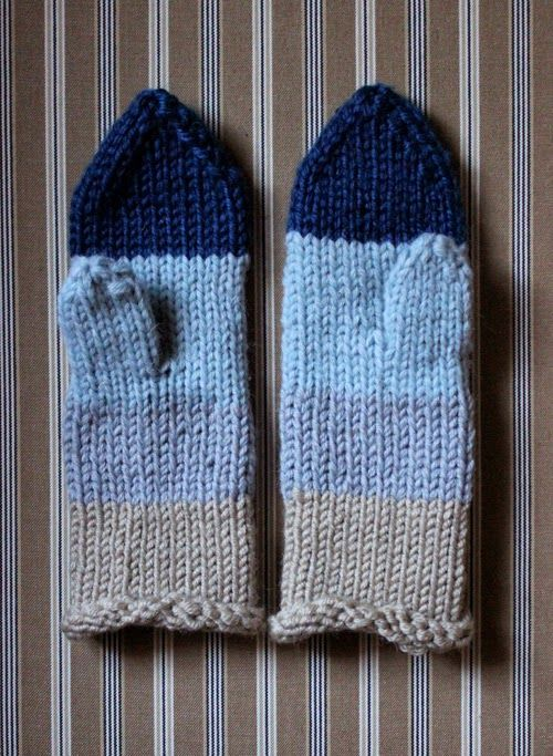 Knitted mittens. Winter sea