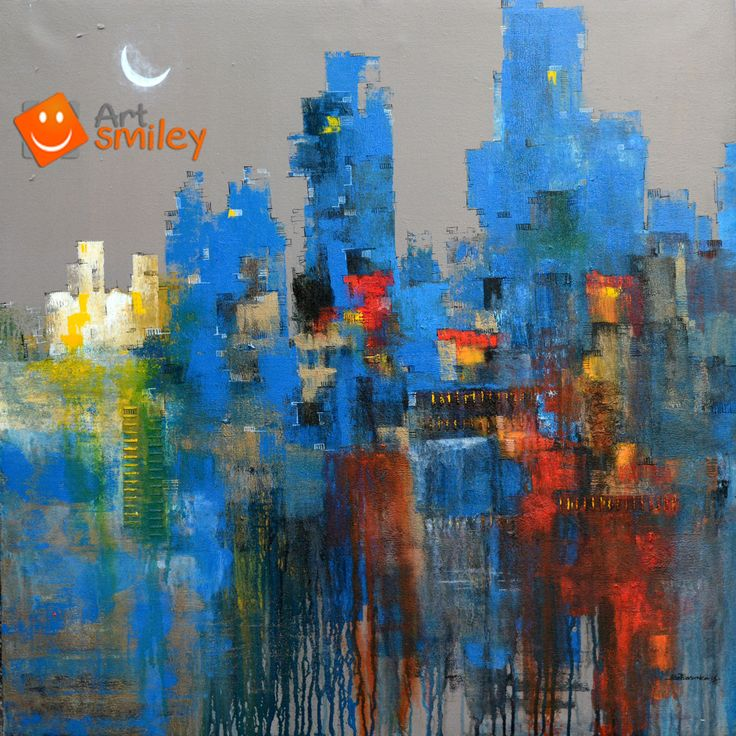 Title: Cityscape- I Type: Painting Medium: Acrylic on Canvas Size (W x H): Medium – 36 x 36 inch | 91.44 x 91.44 cm Orientation: Square  The moon peeked shyly over the high rises  In order to buy this painting click the below link https://artsmiley.com/product/cityscape-i/  #buy #paintings #cityscape #acryliconcanvas #abstract #originalpaintingsonline #paintingsonline #buyarts #buypaintings #canvaspaintingsforsale #abstractart #abstractpaintings #cityscapepainting #acrylicpaintings #artlover