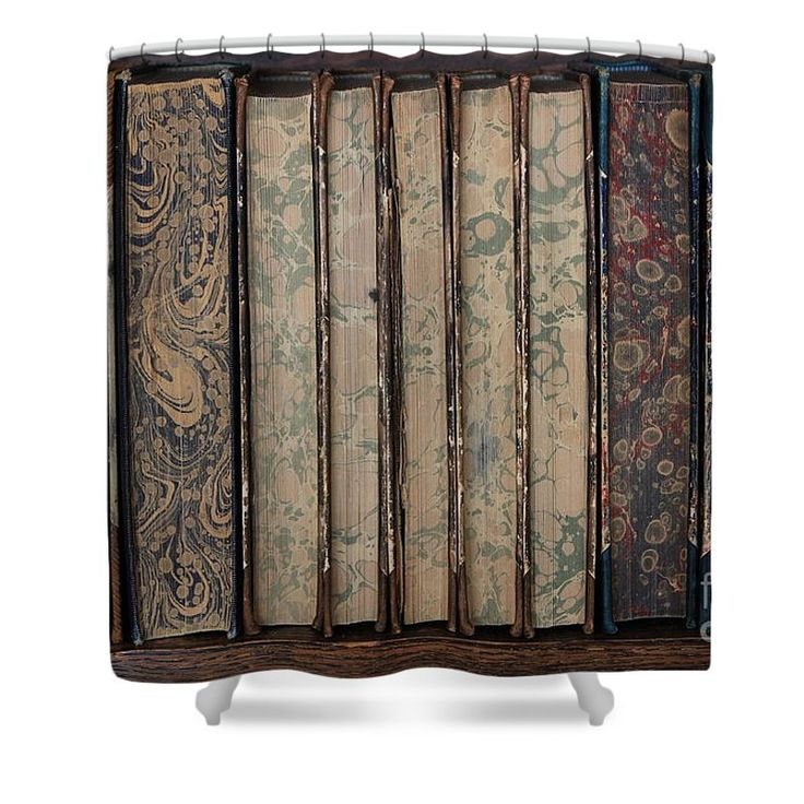 """Old Books Shower Curtain by Sverre Andreas Fekjan.  This shower curtain is made from 100% polyester fabric and includes 12 holes at the top of the curtain for simple hanging.  The total dimensions of the shower curtain are 71"""" wide x 74"""" tall."""