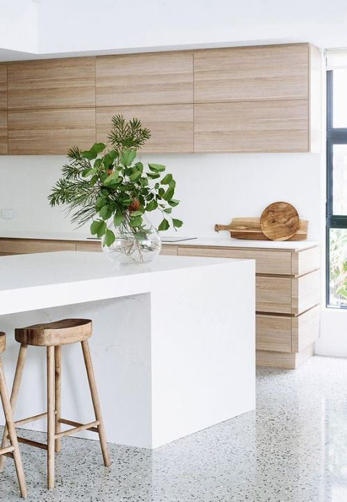 Wood by window, white elsewhere?