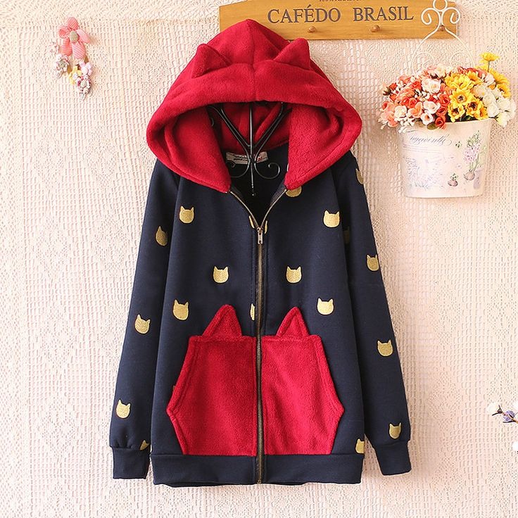 Cute kawaii cat fleece hoodies