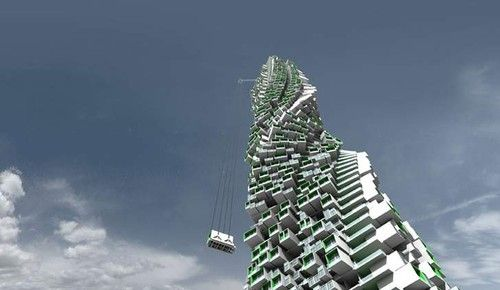 futuristic, Modular Jenga Tower, green architecture, building, eco, apartment, structure, abastraction, concept, innovation, future office, Hong Kong