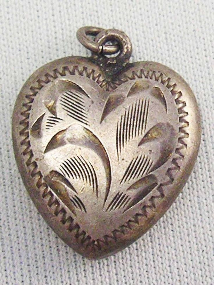 Vintage Sterling Silver Etched SOLID Puffy Heart Charm 925 ~ Lovely Warm Patina