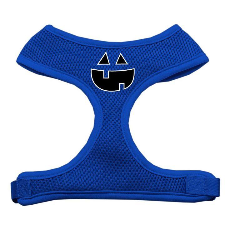 Pumpkin Face Design Soft Mesh Harnesses Blue Extra Large