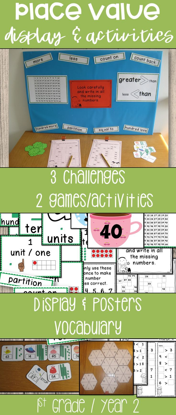 Support The Learning Of Place Value And Number With This Interactive Display And Challenge Table Activity Place Values Math Lesson Plans First Grade Activities