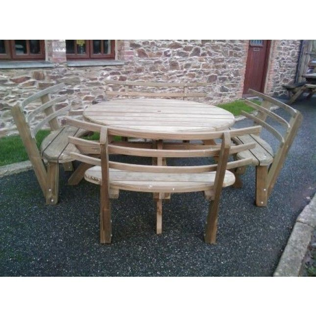 Picnic Bench Round With Back Rest Outdoor Furniture Tables Table