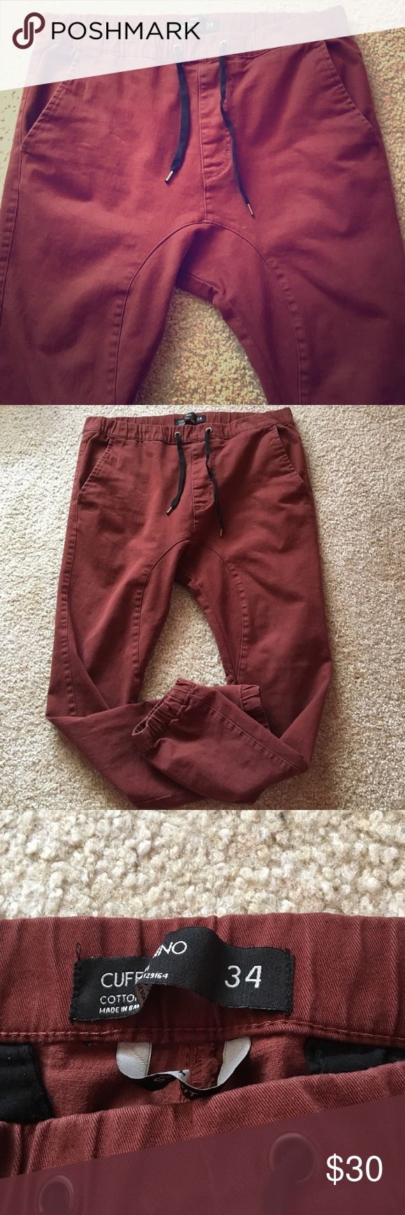 sale men's joggers Men's maroon joggers! Size 34 in waist, slim fit Open to offers! In good condition Cotton On Pants Sweatpants & Joggers