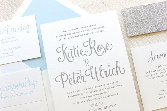 The Forget Me Not Suite, Modern Letterpress Wedding Invitations, Silver, Glitter, Winter, White, Grey, Formal, Elegant, Calligraphy, Script