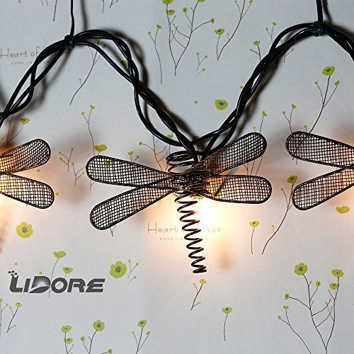 Metal Dragonfly Patio String Light. Ideal For Indoor/Outdoor Decoration.  Warm White Glow