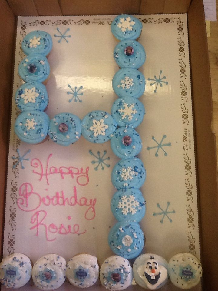#4 cupcake cake blue buttercream with frozen theme ...