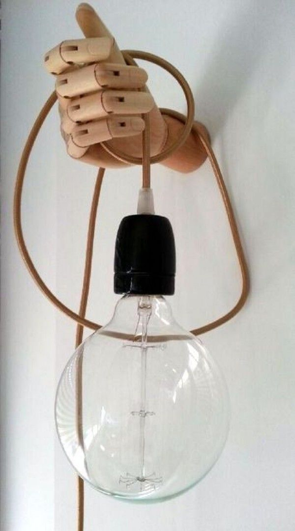This is an artist lamp! The hand holding the bul idea is fun and creative! Ths will impress everyone who gets to see this!